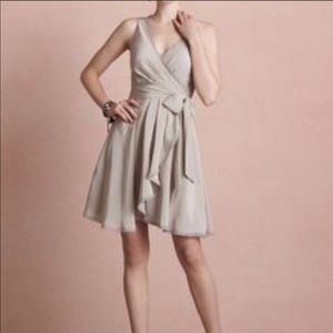 BHLDN Quillaree Silver Wrap Dress size 6 EUC